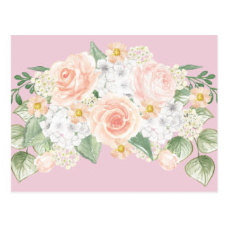 Hübsche Watercolor-Blumenblumenstrauß-Rosa-Rosen Postkarte