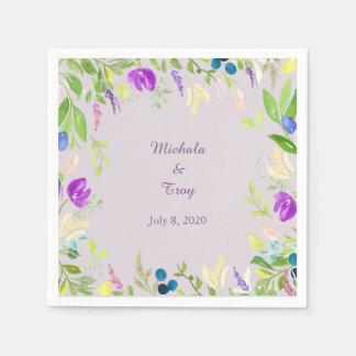 Hübsche Watercolor-Orchideen-Blumenhochzeit Papierserviette