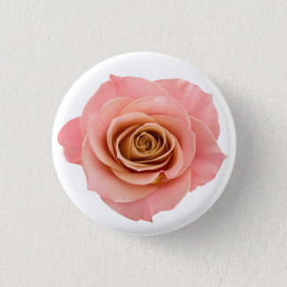Hübsche weiche rosa photographische Rosen-Blume Runder Button 3,2 Cm