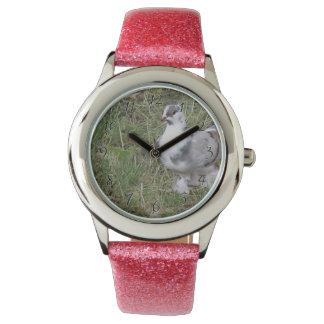 Hübsche weiße und graue extravagante Feder-füßige Armbanduhr