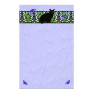 Hübsche Wildblumen und Katze stationär Briefpapier