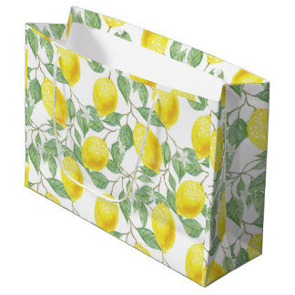 Hübsche Zitronen-Muster-Geschenk-Tasche Große Geschenktüte