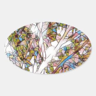Hübscher Baum des Leben-befleckten Glases Ovaler Aufkleber