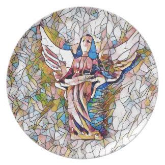 Hübscher beflecktes Glas-Wächter-Engel Teller