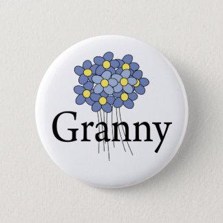 Hübscher blauer Blumen-Oma-T - Shirt Runder Button 5,1 Cm