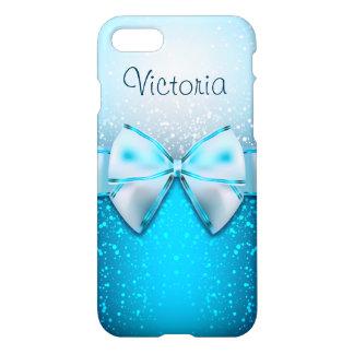Hübscher blauer Glitter-Feiertags-moderner weißer iPhone 7 Hülle