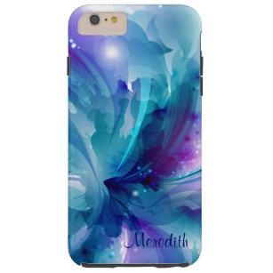 Hübscher blauer u. lila abstrakter Blume iPhone 6 Tough iPhone 6 Plus Hülle