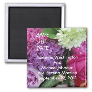 Hübscher Blumen-Blumenstrauß, der Save the Date Quadratischer Magnet