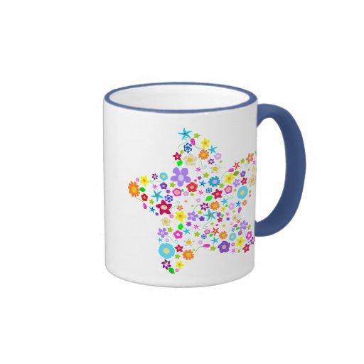 Hübscher Blumen-Stern Kaffee Tasse