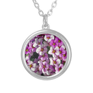 Hübscher Blumendruck der rosa und lila Petunien Versilberte Kette