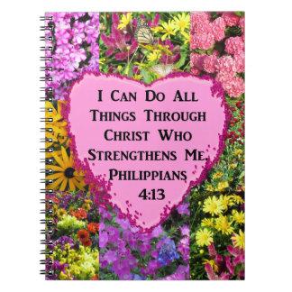HÜBSCHER BLUMENphilippians-4:13 SCRIPTURE Notizblock