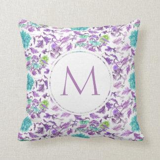 Hübscher Blumentürkis-violettes kundenspezifisches Kissen