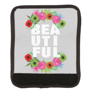 Hübscher Blumenwreath-schöne moderne Text-Grafik Koffergriffwickel