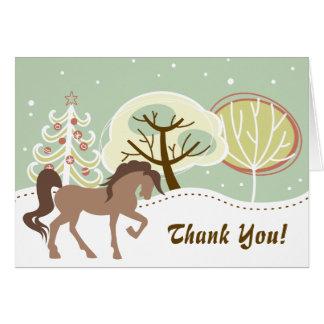 Hübscher Brown-Pferdesnowy-Winter danken Ihnen Karte