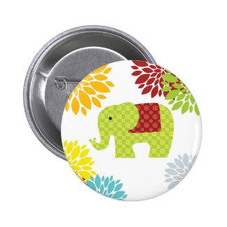 Hübscher bunter Hippie-Elefant-Blumen-Power Runder Button 5,7 Cm