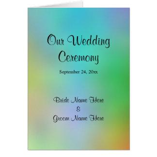 Hübscher bunter Hochzeits-Programm-Entwurf Karte