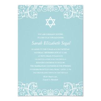 Hübscher eleganter blauer Schläger Mitzvah 12,7 X 17,8 Cm Einladungskarte