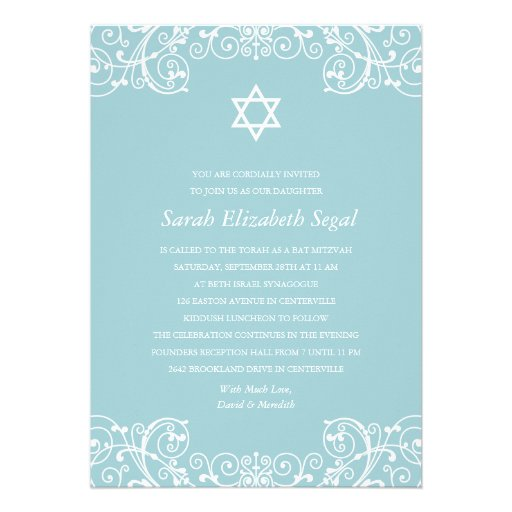 Hübscher eleganter blauer Schläger Mitzvah Einladungskarte