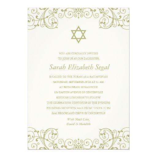 Hübscher eleganter Goldschläger Mitzvah Einladungen