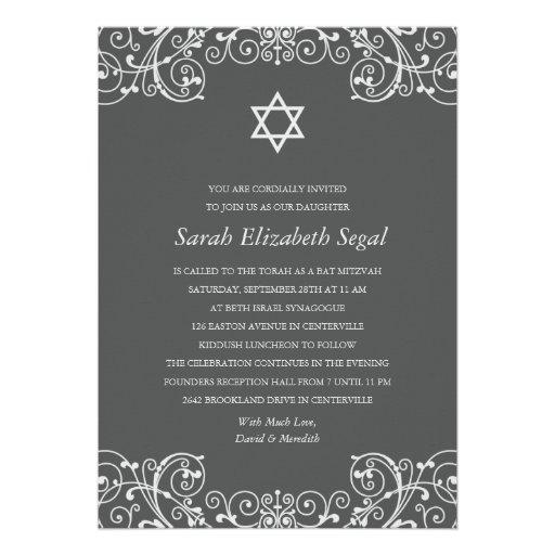 Hübscher eleganter grauer Schläger Mitzvah Ankündigung