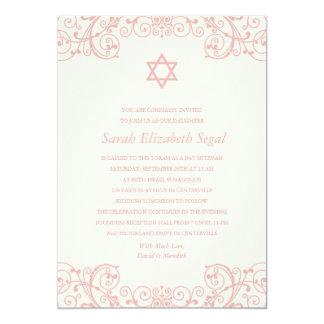 Hübscher eleganter rosa Schläger Mitzvah 12,7 X 17,8 Cm Einladungskarte