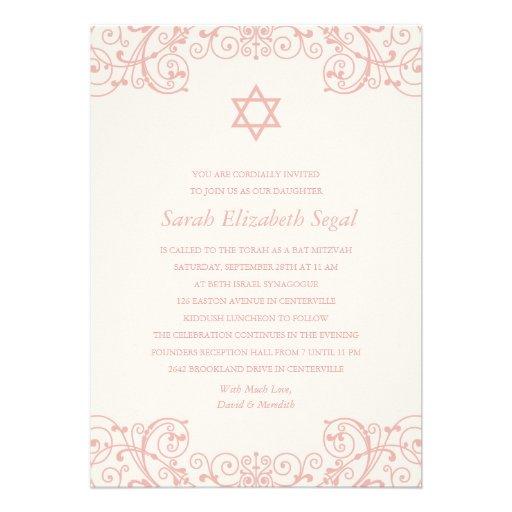 Hübscher eleganter rosa Schläger Mitzvah Individuelle Ankündigungskarte