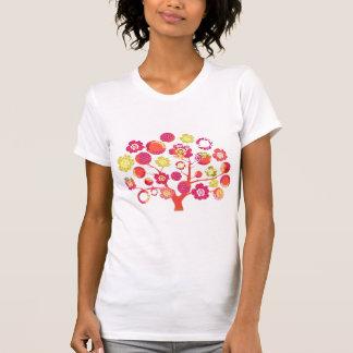 Hübscher funky heller rosa u. gelber Blütenbaum T-Shirt