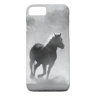Hübscher galoppierender Pferdeschwarzweiss-kasten iPhone 8/7 Hülle