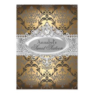 Hübscher Gold-u. Silber-Damast-Bonbon 16 laden ein 11,4 X 15,9 Cm Einladungskarte