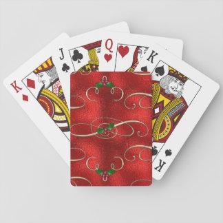 Hübscher GoldWirbel mit Stechpalme u. Beeren Spielkarten