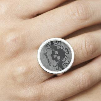 Hübscher goth Schädel Foto Ringe