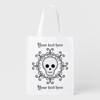 Hübscher goth Schädel Wiederverwendbare Einkaufstasche