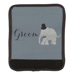 Hübscher grauer Vintager Elefant-Bräutigam Gepäck Markierung