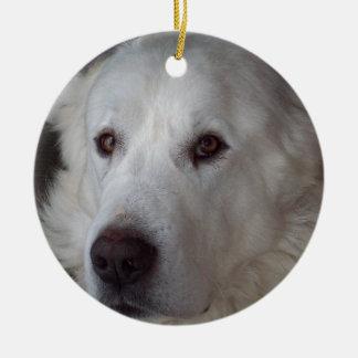 Hübscher große Pyrenäen-Hund Keramik Ornament