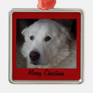 Hübscher große Pyrenäen-Hund Silbernes Ornament