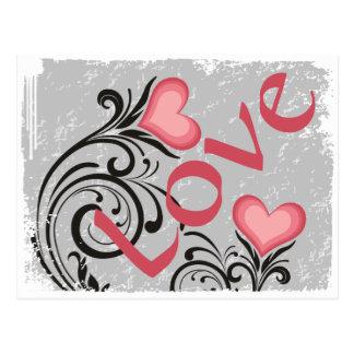 Hübscher Herz-Blumen LIEBE Grunge Postkarte