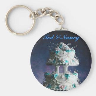 Hübscher Hochzeits-Kuchen-Entwurf Standard Runder Schlüsselanhänger