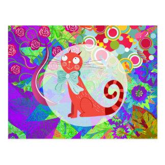 Hübscher Kitty-verrückte Katzen-Dame Gifts Vibrant Postkarte