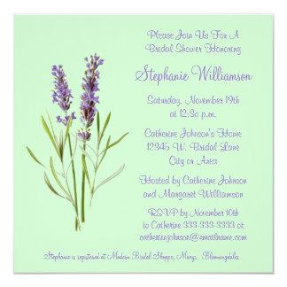 Hübscher Lavendel-KrautSprig auf grünem Brautparty Quadratische 13,3 Cm Einladungskarte