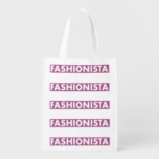Hübscher lila Fashionista-Text-Ausschnitt Wiederverwendbare Einkaufstasche