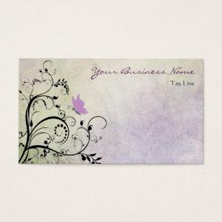 Hübscher lila Silhouette-Schmetterling und Reben Visitenkarte