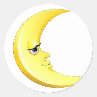 Hübscher Mond Runder Aufkleber