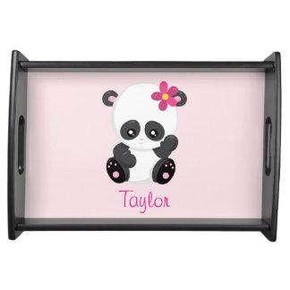 Hübscher Panda personifizieren Rosa und Schwarzes Tablett