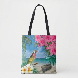 Hübscher Parakeet auf einem tropischen Tasche