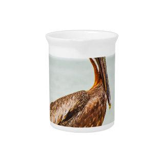 Hübscher Pelikan gehockt über dem Ozean Getränke Pitcher