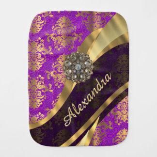 Hübscher personalisierter girly lila Damast Patten Spucktuch