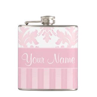 Hübscher personalisierter rosa Damast und Streifen Flachmann