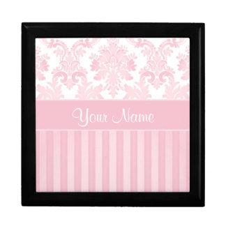 Hübscher personalisierter rosa Damast und Streifen Geschenkbox