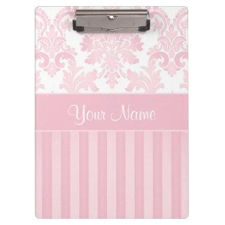 Hübscher personalisierter rosa Damast und Streifen Klemmbrett
