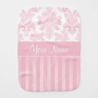 Hübscher personalisierter rosa Damast und Streifen Spucktuch